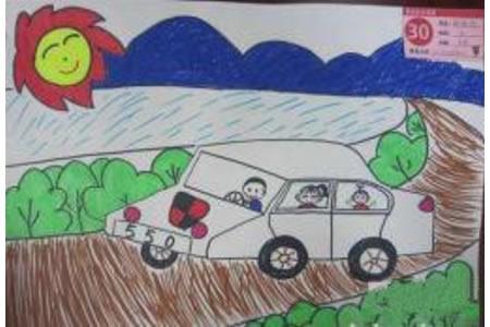 儿童画全家一起去旅游