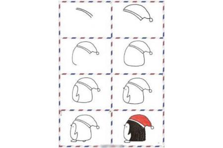 圣诞节小企鹅简笔画教程