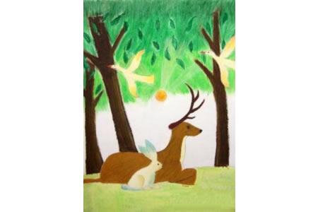 梅花鹿和小兔子动物画画图片欣赏