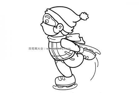 小男孩滑冰简笔画图片