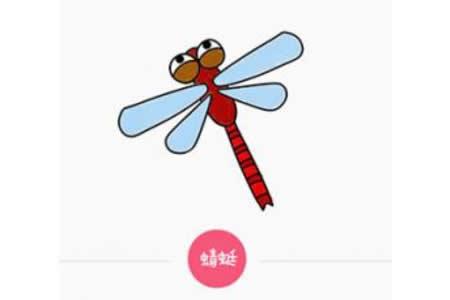 带颜色的蜻蜓简笔画