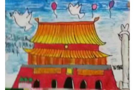 北京天安门,以国庆节为主题的儿童画