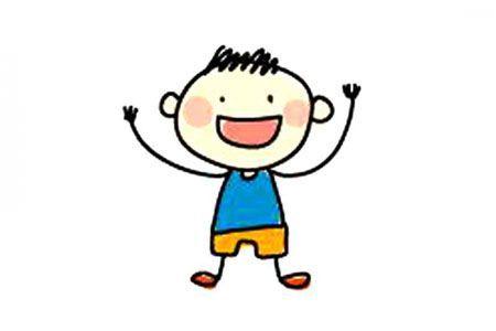 简单易学的彩色小男孩简笔画图片