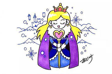 冰雪王国的公主简笔画图片