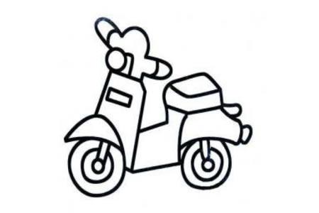 儿童简笔画大全 小摩托车