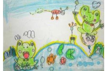 荷塘里的青蛙儿童画画作品
