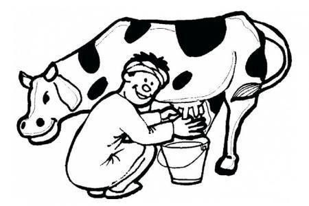 在挤牛奶的挤奶工人