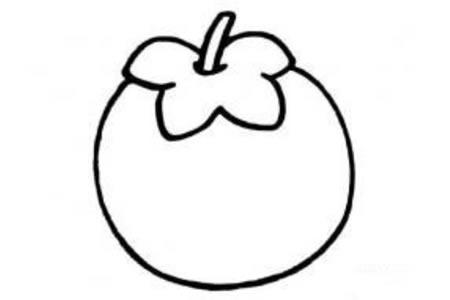 水果简笔画大全 柿子简笔画