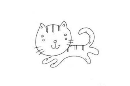 一组可爱的小猫简笔画图片