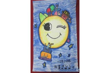 中秋节主题儿童画作品大全-我给嫦娥送月饼