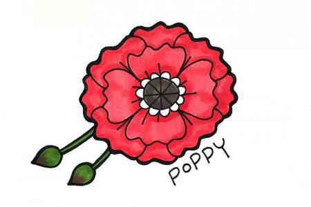 9张漂亮的花朵手帐简笔画素材
