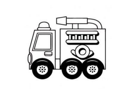 简单易画的幼儿消防车