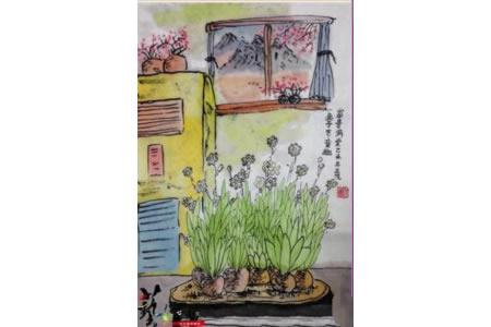 水仙花开富贵满堂写意国画