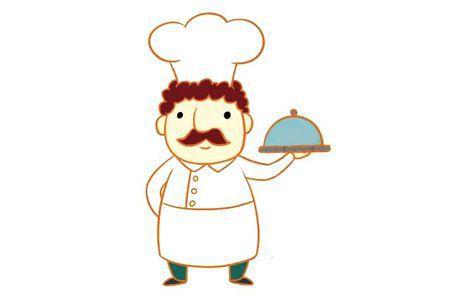 大胡子厨师简笔画图片