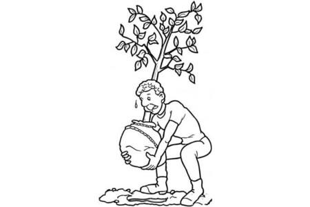 在花园里种树 植树节简笔画素材