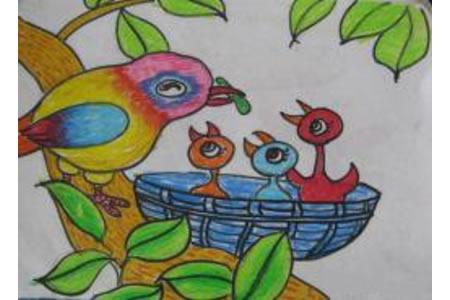 儿童画鸟妈妈和小鸟