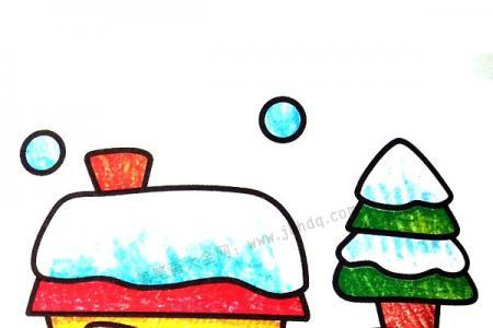 雪夜风景简笔画图片