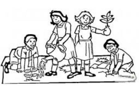 植树节简笔画素材 孩子们在植树