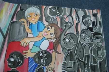 九九重阳节儿童画之我为奶奶让座位