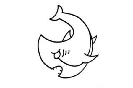 海洋生物简笔画 凶狠的鲨鱼简笔画图片