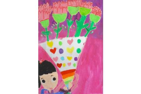 幼儿母亲节绘画作品之一束鲜花送妈妈