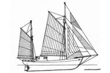 海上停泊的帆船简笔画