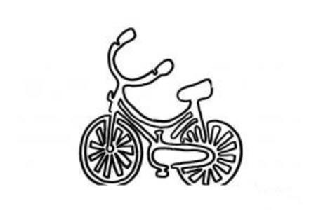 一笔画自行车简笔画作品