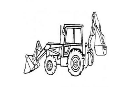 工程车图片 挖掘装载机简笔画