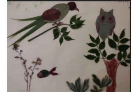 树叶贴画作品:小鸟树叶贴画作品