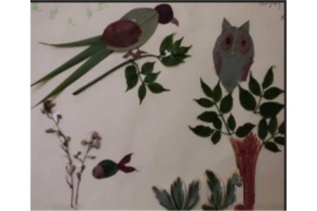 树叶贴画作品:树上的小鸟