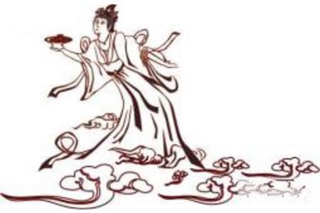 中秋节主题简笔画:嫦娥奔月