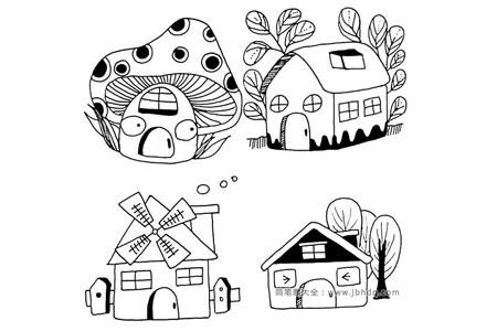 12种卡通房子的简笔画图片