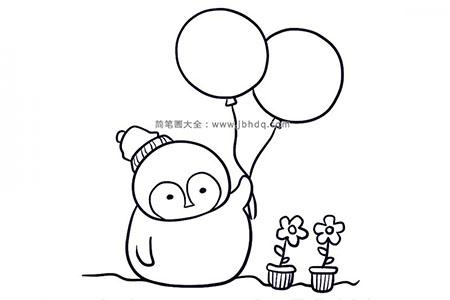 可爱企鹅拿着气球