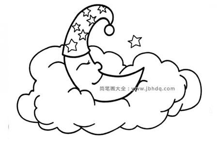 月亮睡在软绵绵的云朵上