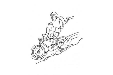 骑自行车从山上滑下来