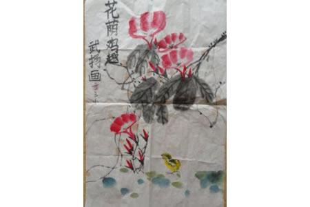 牵牛花和小鸡水墨写意花鸟画