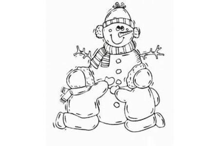 儿童简笔画堆雪人
