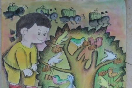 端午节获奖儿童画-和奶奶学包粽子