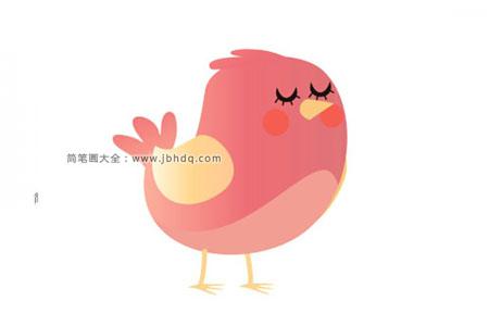 一组简单漂亮的彩色小鸟简笔画图片