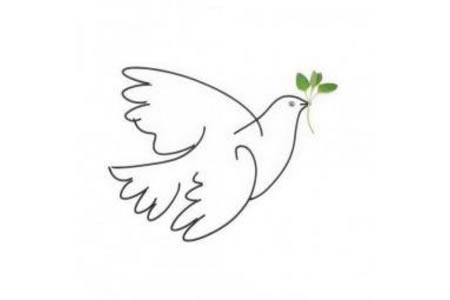 飞翔的和平鸽简笔画图画