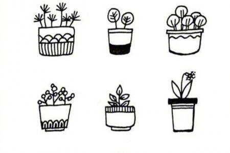 盆栽植物的黑白手帐简笔画图片大全