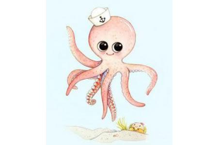 八爪小章鱼海底世界水彩画作品分享