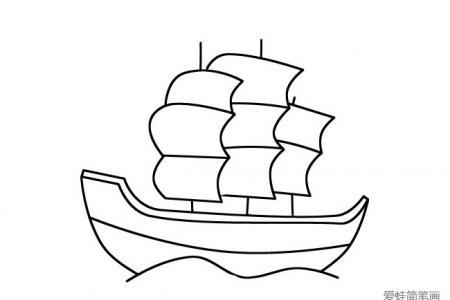 海上的帆船简笔画图片