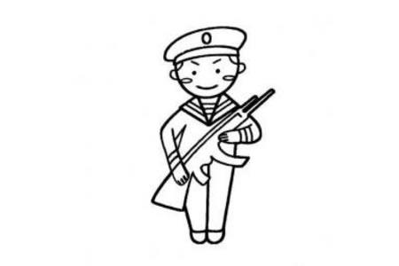 人民解放军军官简笔画图片