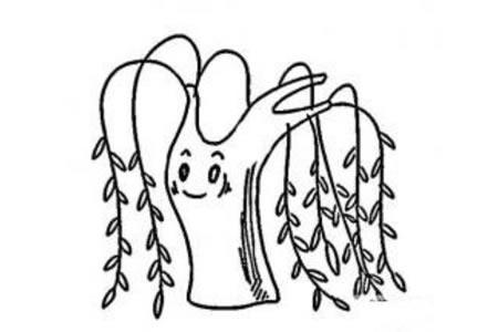 春天的柳树简笔画图片