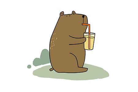 喝饮料的小熊