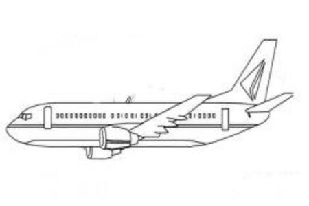 空中飞行的飞机简笔画