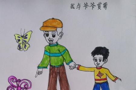 我和爷爷赏菊花绘画,重阳节儿童画图片欣赏