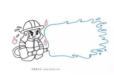 救火的消防员简笔画