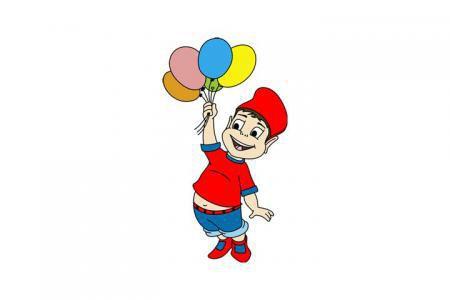 拿着气球的小男孩简笔画